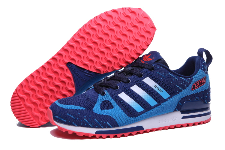 Men's Adidas Originals ZX 750 Flyknit Shoes Bold Blue/Black/Melon