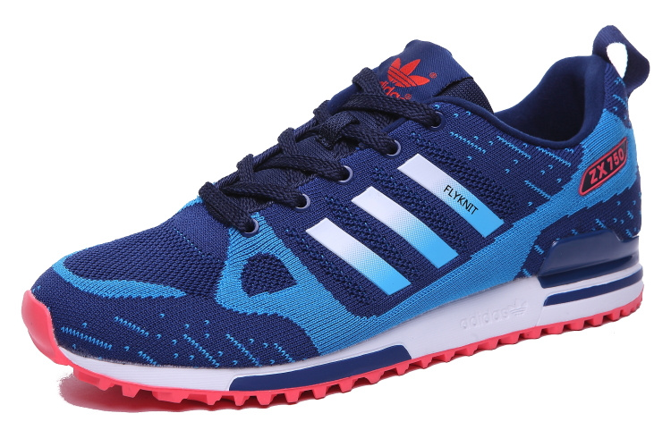Men\'s Adidas Originals ZX 750 Flyknit Shoes Bold Blue/Black/Melon