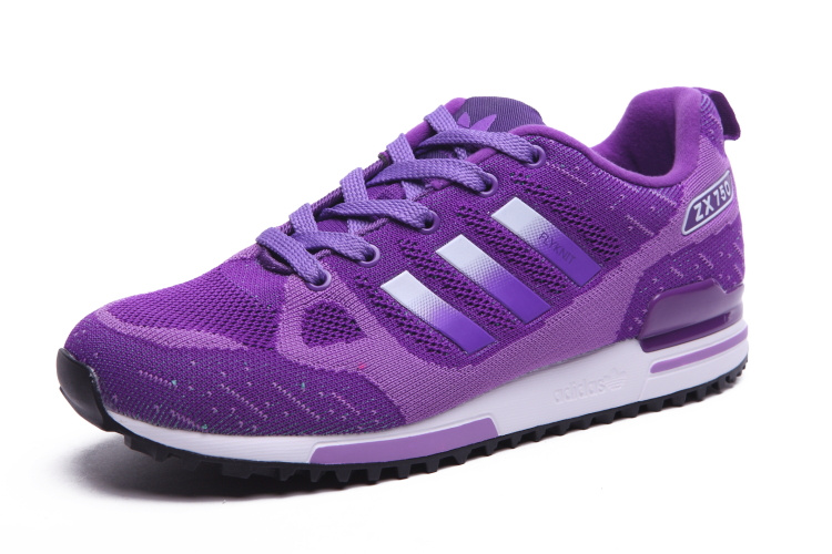 Women\'s Adidas Originals ZX 750 Flyknit Shoes Violet/Silver