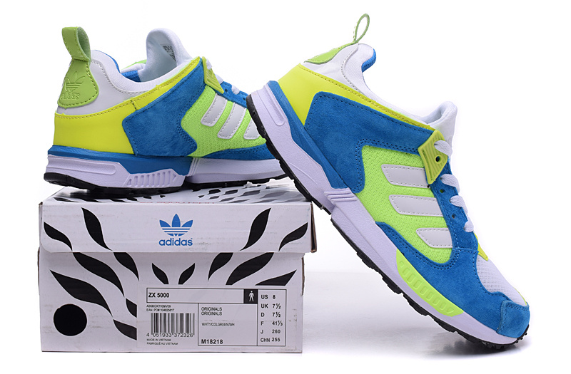 Men\'s/Women\'s Adidas Originals ZX 5000 RSPN Shoes Bold Blue/Fluorescent/Runwhite M18218