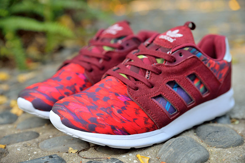 "Women\'s Adidas Originals ZX 500 II ""Floral Concept\"" Shoes Cardinal/Cardinal/Running White"