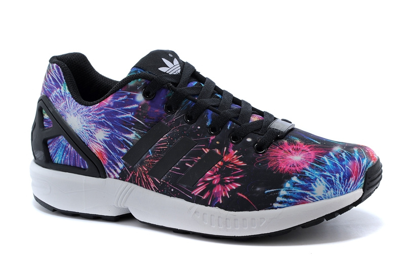 Men\'s/Women\'s adidas Originals ZX Flux Firework Prints Shoes Multicolor Dark Blue/Orange