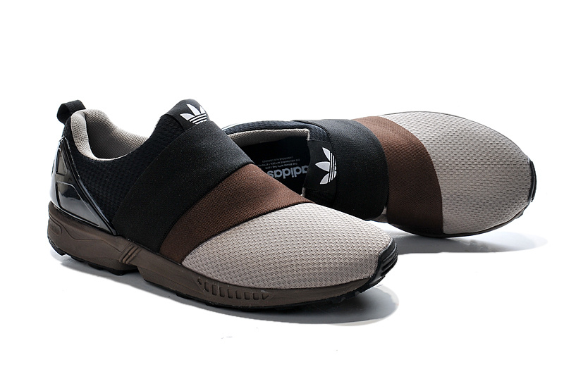 Men\'s adidas Originals ZX Flux Slip-On Shoes Coffee/Core Black/Beige