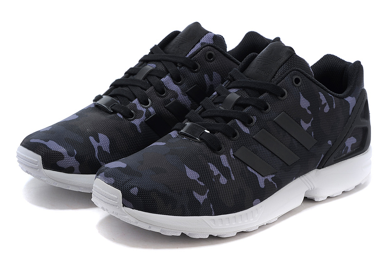 Men\'s adidas Originals ZX Flux Shoes Core Black/Metallic Grey Camo B24388