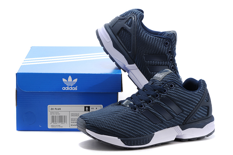Men\'s adidas Originals ZX Flux Shoes Navy Blue/White