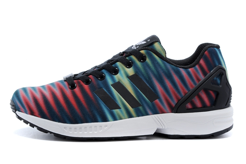 Men\'s adidas Originals ZX Flux Print Shoes Blue/Red/Black