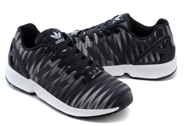 Men\'s adidas Originals ZX Flux Print Shoes Charcoal Grey/White/Black