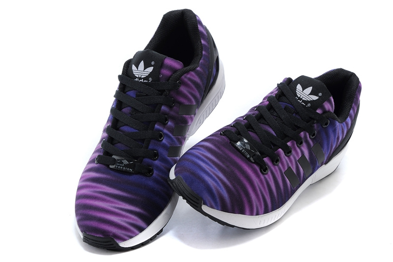 Men\'s adidas Originals ZX Flux Print Shoes Violet/Black