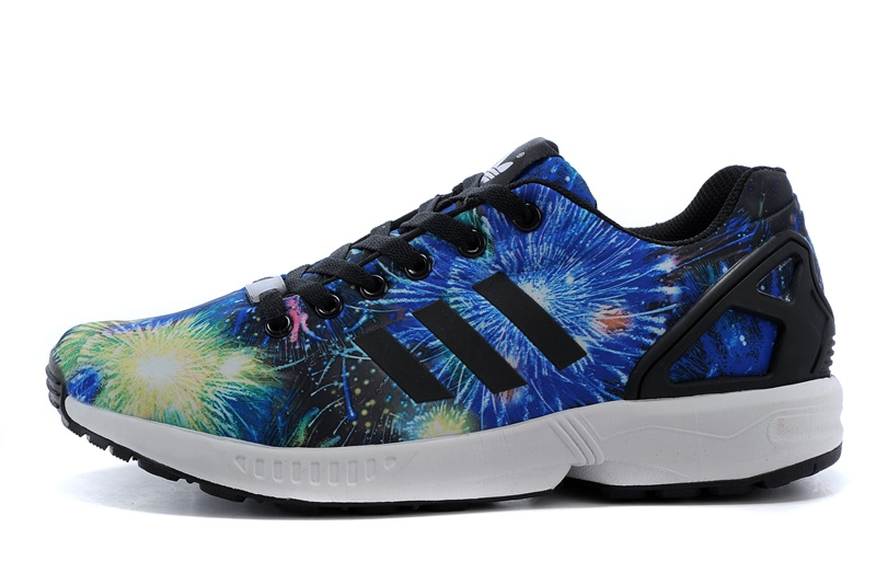 Men\'s adidas Originals ZX Flux Firework Prints Shoes Bluebird/Black/Gold