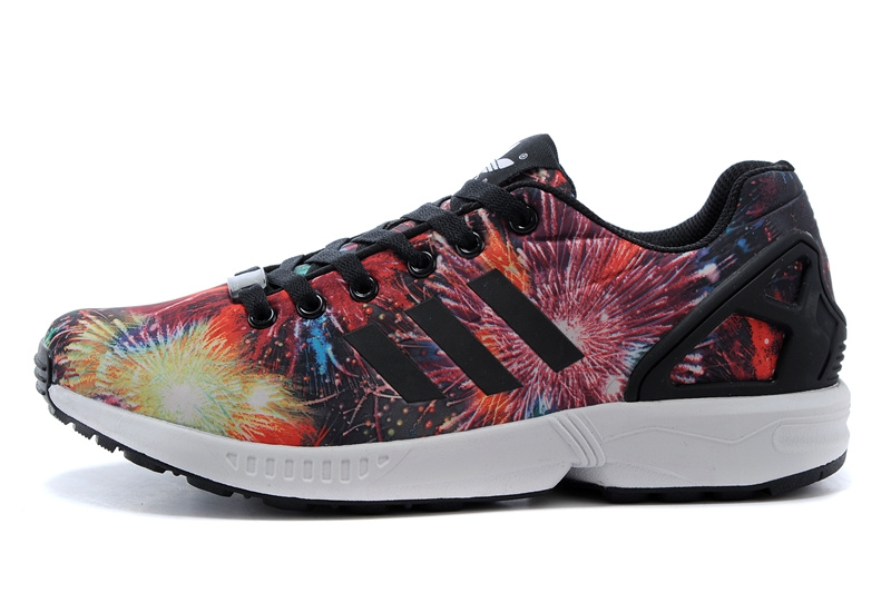 Men\'s adidas Originals ZX Flux Firework Prints Shoes Pink/Bright Red/Gold/Black