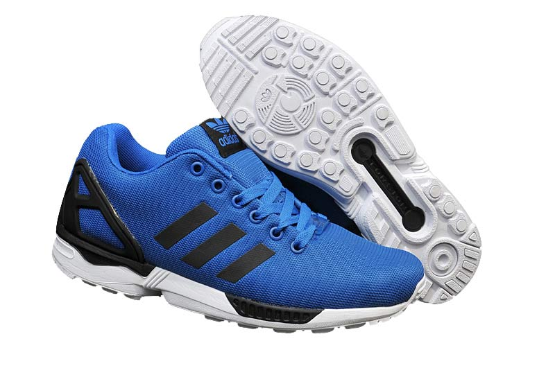Men's adidas Originals ZX Flux Firework Prints Shoes Blue Black White M21328