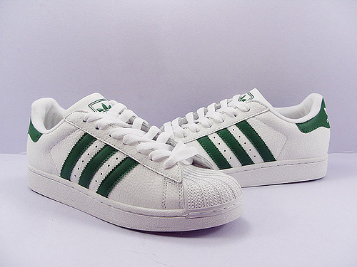 Men\'s/Women\'s Adidas Originals Superstar 80s Vintage Deluxe Shoes Vintage White/Collegiate Green/Off White B35981