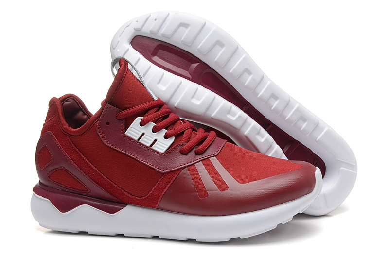 Men's/Women's Adidas Originals Tubular Running Shoes Burgundy/White B41274