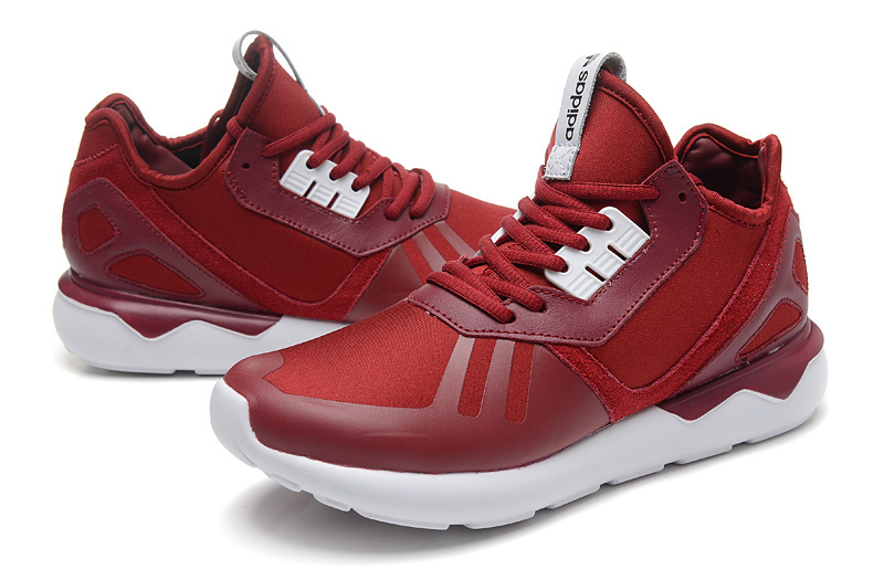 Men\'s/Women\'s Adidas Originals Tubular Running Shoes Burgundy/White B41274