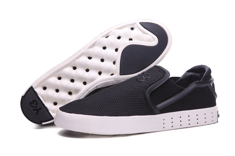 Men's Adidas Y-3 Laver Slip On Shoes Black/Black/White B35664