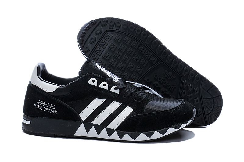 Men's/Women's Adidas Originals Neighborhood Boston Super OG Shoes Black/White