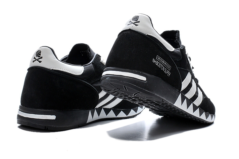 Men\'s/Women\'s Adidas Originals Neighborhood Boston Super OG Shoes Black/White