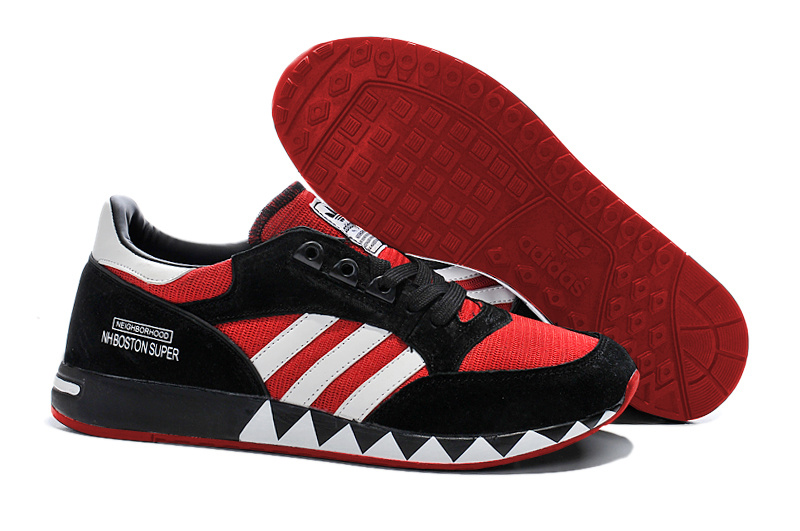 Men's/Women's Adidas Originals Neighborhood Boston Super OG Shoes Black/Red/White