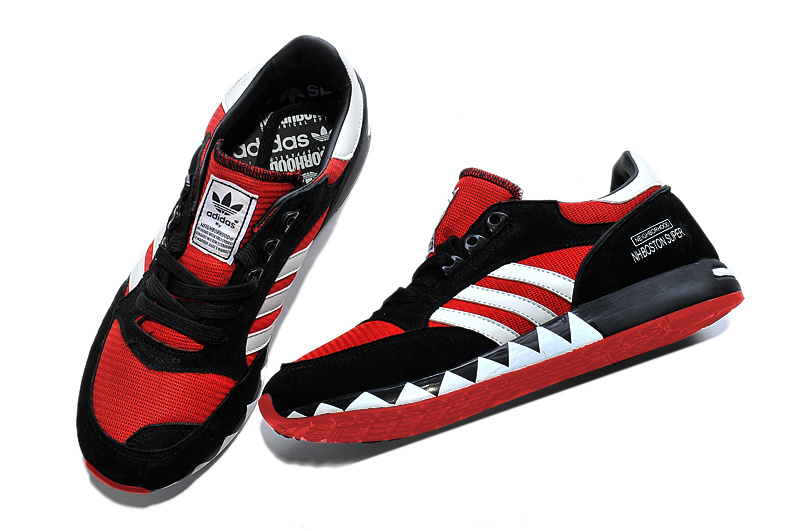 Men\'s/Women\'s Adidas Originals Neighborhood Boston Super OG Shoes Black/Red/White