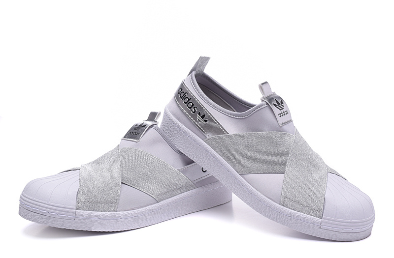 Men\'s/Women\'s Adidas Originals Superstar Slip On Trainer Grey/Silver
