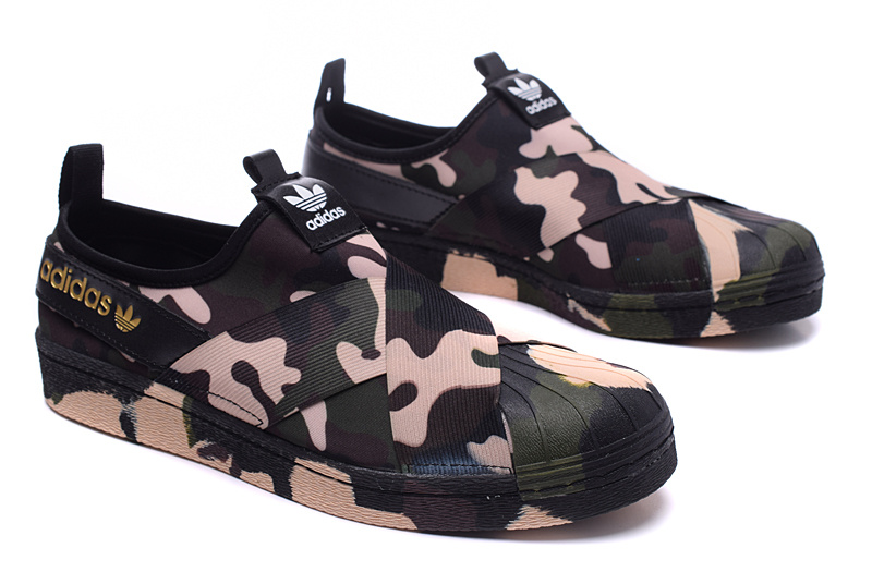 Men\'s/Women\'s Adidas Originals Superstar Slip On Trainer Camo