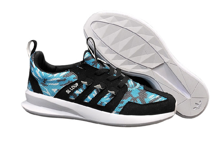 Men's/Women's Adidas Originals SL LOOP Shoes Black Blue White C75288