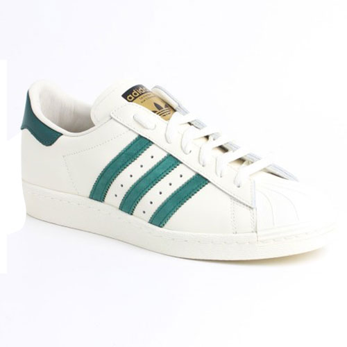 Men's/Women's Adidas Originals Superstar 80s Vintage Deluxe Shoes White/Collegiate Green B35981-GM0735