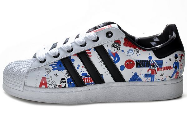 Men's/Women's Adidas Originals Superstar II Shoes Running White/Black Blue Print G43778