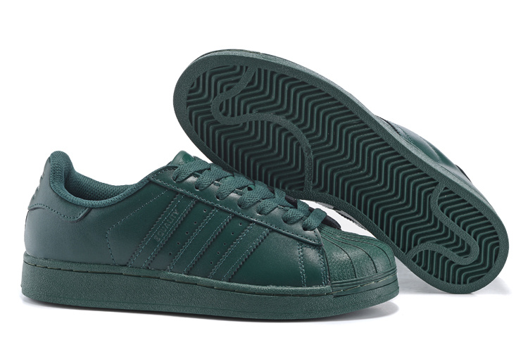 Men's/Women's Adidas Originals Superstar Supercolor PHARRELL WILLIAMS Shoes Dark Green S83396