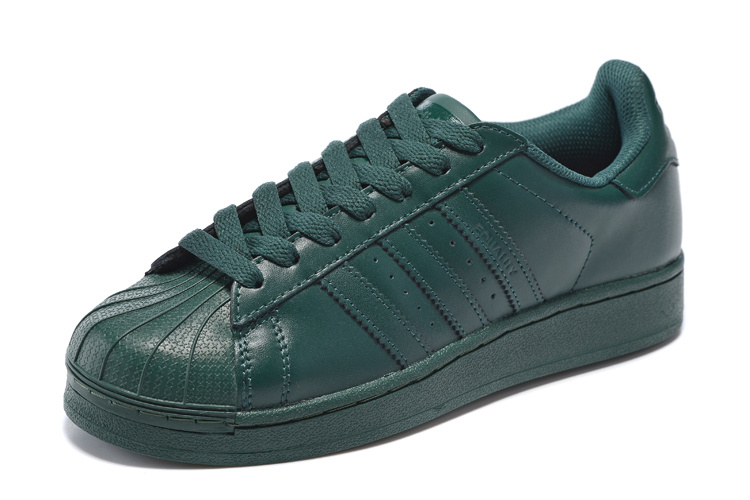 Men\'s/Women\'s Adidas Originals Superstar Supercolor PHARRELL WILLIAMS Shoes Dark Green S83396
