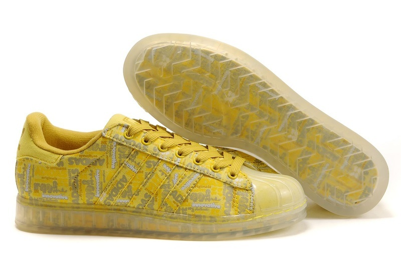 Men's/Women's Adidas Originals Superstar CLR Shoes Yellow 668588