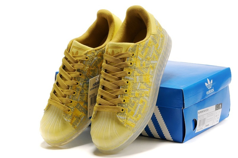 Men\'s/Women\'s Adidas Originals Superstar CLR Shoes Yellow 668588