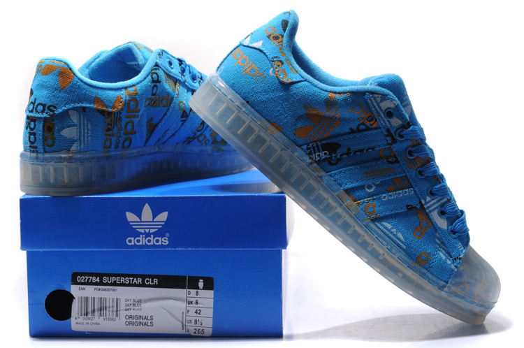 Men\'s/Women\'s Adidas Originals Superstar CLR Shoes Blue 027784