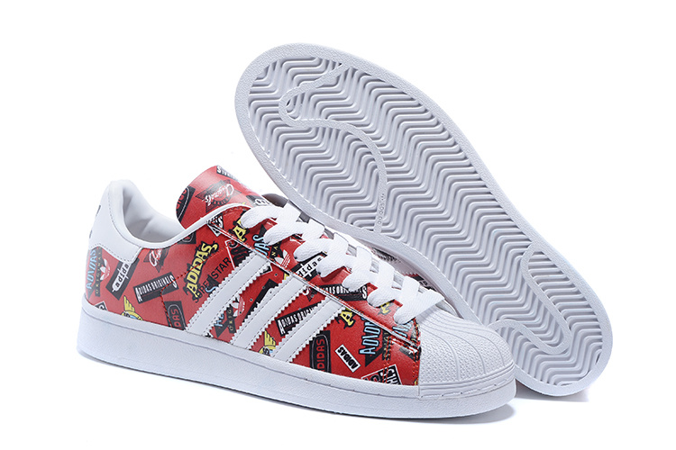 2016 Men's/Women's Adidas Originals Superstar Nigo Allover Print Shoes Scarlet / White / Bluebird S83388