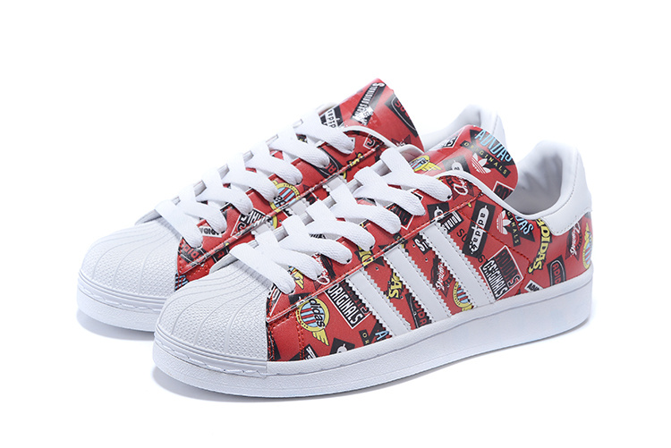 2016 Men\'s/Women\'s Adidas Originals Superstar Nigo Allover Print Shoes Scarlet / White / Bluebird S83388