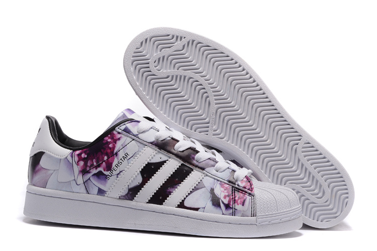 2016 Women\'s Adidas Originals Superstar Lotus Print Casual Shoes White Flower AF5582