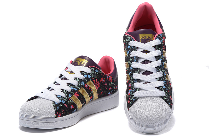 "2016 Women\'s Adidas Originals Superstar ""Russian Bloom\"" Print Shoes Floral Black Gold B35441"