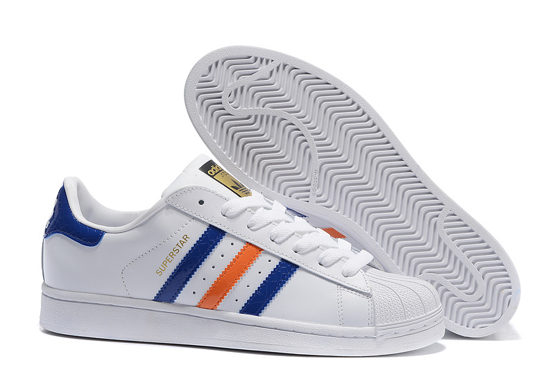 2016 Men's Adidas Originals Superstar East River Shoes White/Bold Blue/Metallic Gold B34310