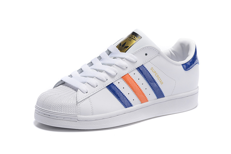 2016 Men\'s Adidas Originals Superstar East River Shoes White/Bold Blue/Metallic Gold B34310