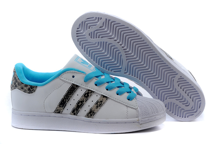 "Men's/Women's Adidas Originals Superstar 2.0 ""Snake"" Casual Shoes WHITE/BRCYAN/BLUE M20899"