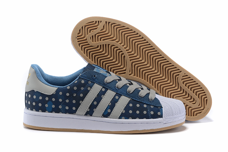 Men's/Women's Adidas Originals Superstar II Polka Dot Casual Shoes Blue Grey M20728