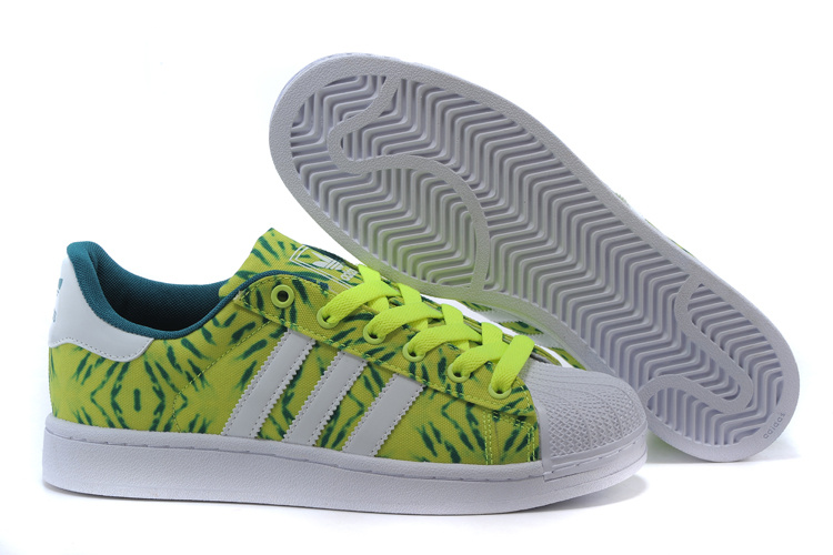 Men's/Women's Adidas Originals Superstar II Casual Shoes YELLOW/WHITE/GREEN C75314