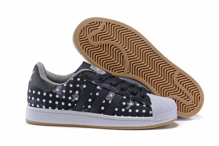 Men's/Women's Adidas Originals Superstar II Camo Dot Print Casual Shoes Black/White M20727