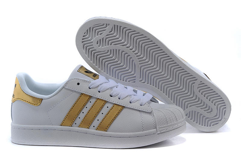 Men's/Women's Adidas Originals Superstar II Bling Casual Shoes White/Metallic Gold/Black V24626