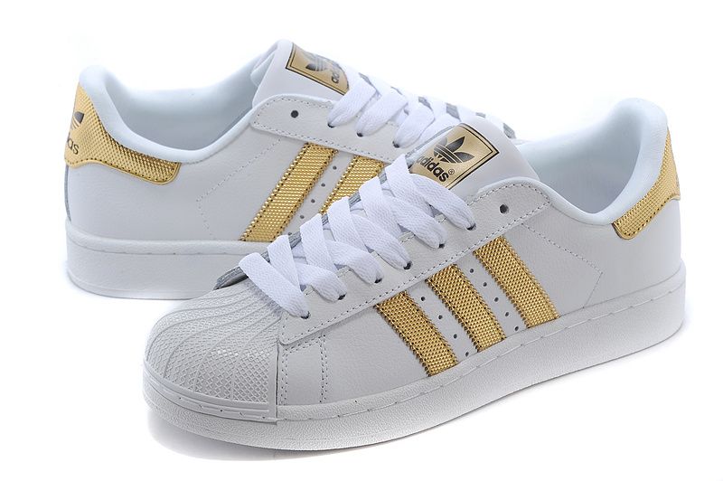 Men\'s/Women\'s Adidas Originals Superstar II Bling Casual Shoes White/Metallic Gold/Black V24626