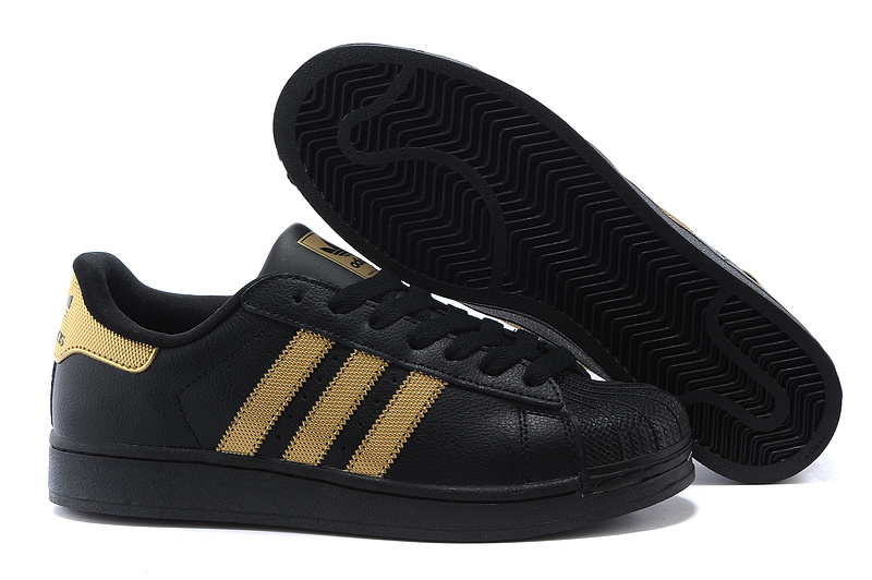 Men's/Women's Adidas Originals Superstar II Casual Shoes Black/Metallic Gold V24625