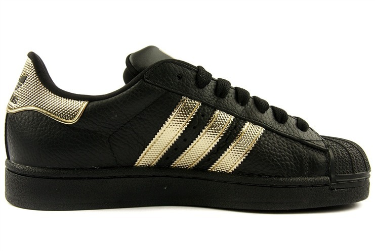 Men\'s/Women\'s Adidas Originals Superstar II Casual Shoes Black/Metallic Gold V24625