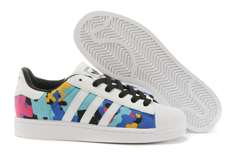 Men's/Women's Adidas Originals Superstar II Casual Shoes White Camo Multicolor M20896