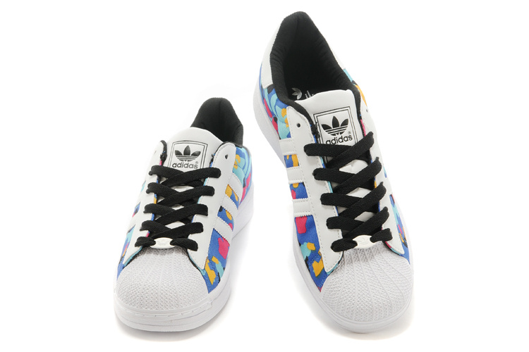 Men\'s/Women\'s Adidas Originals Superstar II Casual Shoes White Camo Multicolor M20896