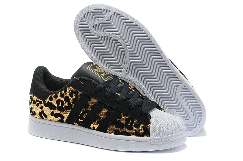 Men's/Women's Adidas Originals Superstar Sparkle Casual Shoes Black/Gold
